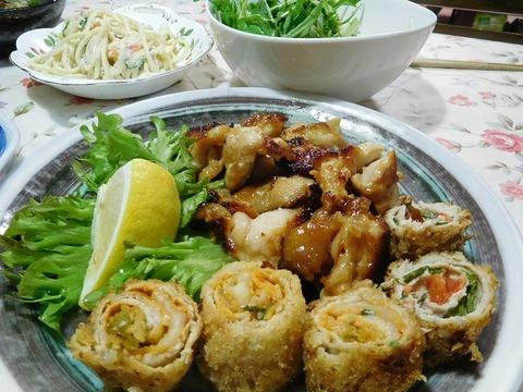 鶏の山賊焼き&豚肉ロール