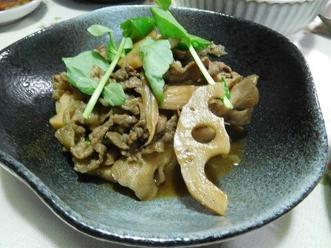 牛肉と蓮根炒め
