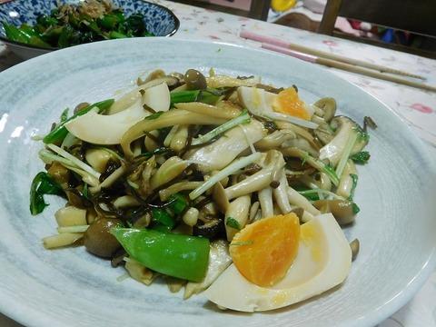 きのこと水菜の炒め物