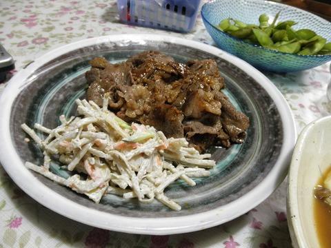 牛カルビ焼き&ゴボウサラダ