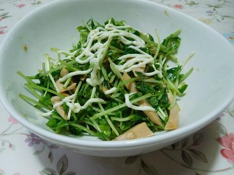 豆苗と魚肉ソーセージのサラダ