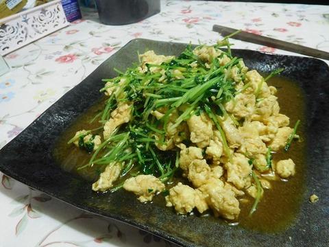 豆苗の卵炒め