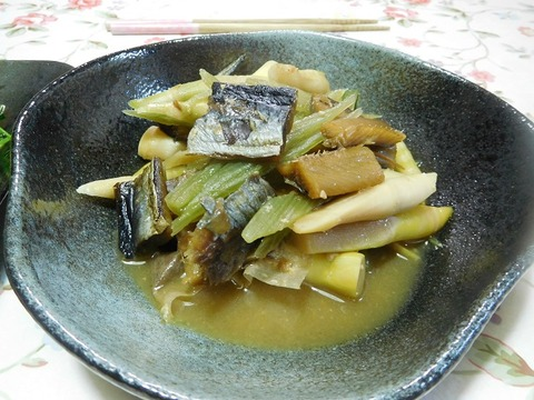 身欠きにしんと山菜の味噌煮