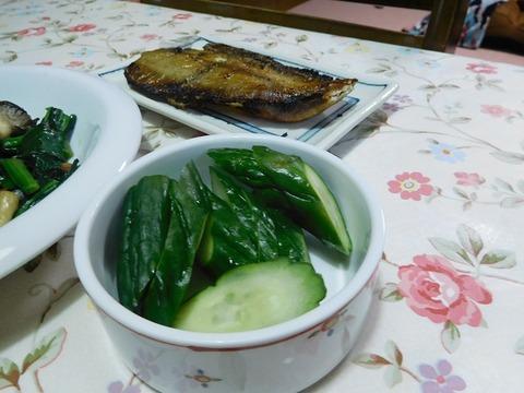 きゅうりの糠漬け&鰈焼き魚
