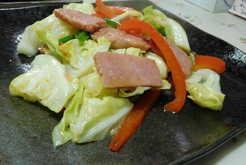 スパムと野菜炒め