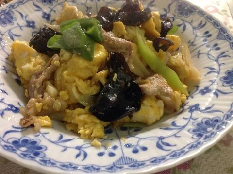 豚肉とキクラゲと卵の炒め物