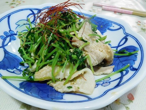 豆苗と豚肉炒め