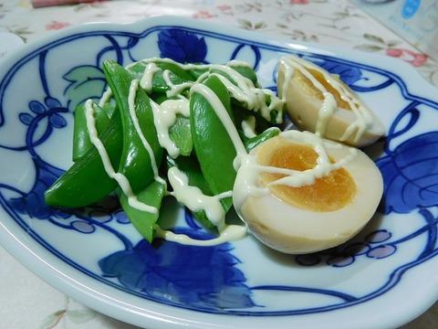 煮卵&スナップエンドウ