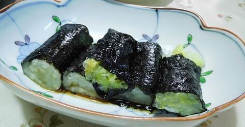 白菜のお浸し海苔巻き