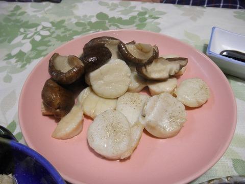 帆立と椎茸のバター焼き