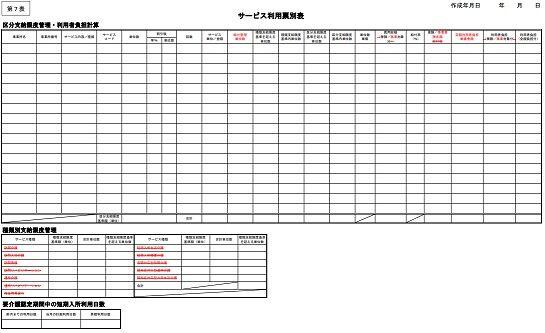 第7表サービス利用表別表