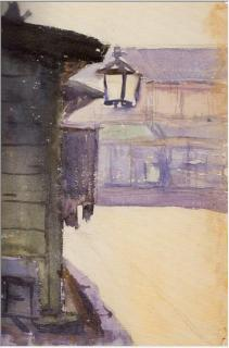 pict-軒灯のある街景1910年8月12日水彩、紙
