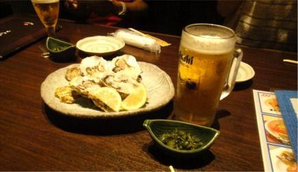 カキとビール