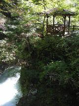 観音滝を目前に眺める東屋