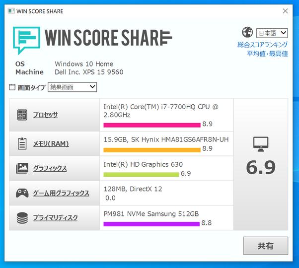 XPS15 winscore