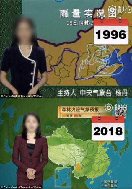 【エンタメ画像】中国のお天気お姉様が23年間全く変わらないと話題に!!! 「22年前よりもぐうかわ」の声 (画像あり)