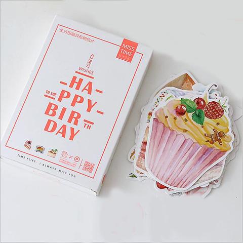 30ピース-ロット誕生日ケーキデザイン挨拶カードクリスマスカード