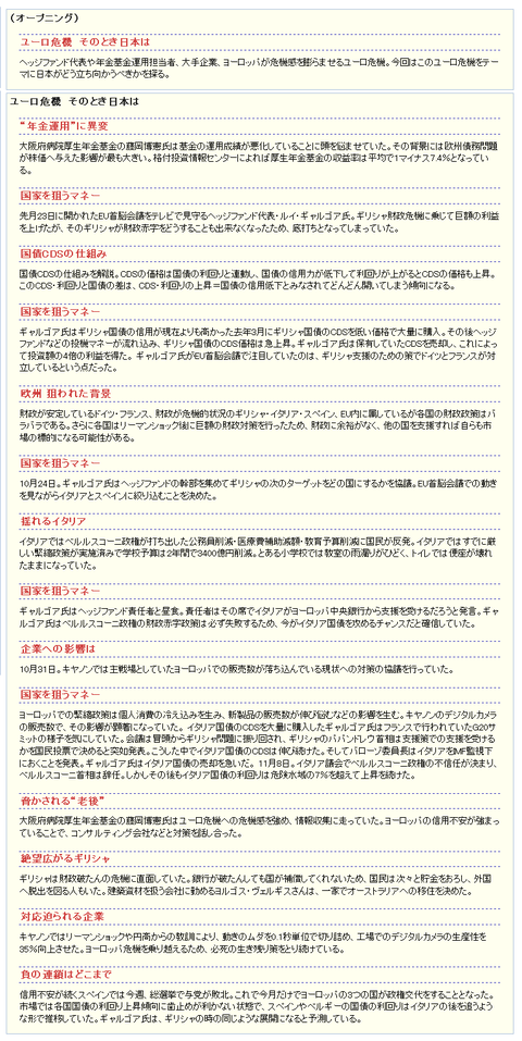 ろくもじ  「NHKスペシャル 「ユーロ危機 そのとき日本は」」