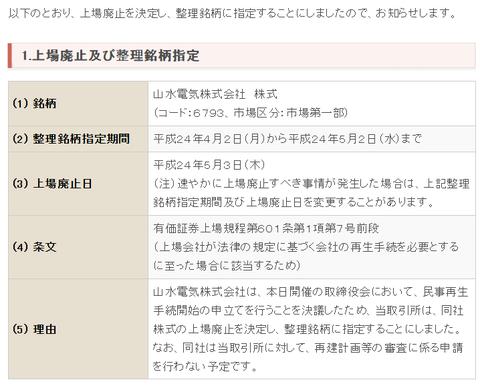 東証 - 上場廃止等の決定について