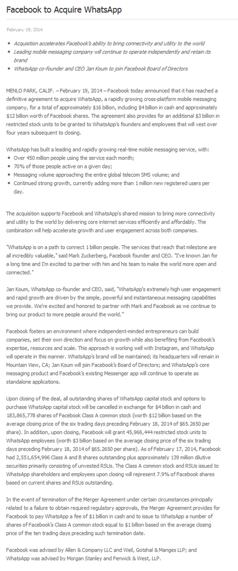 Facebook to Acquire WhatsApp - Facebook Newsroom