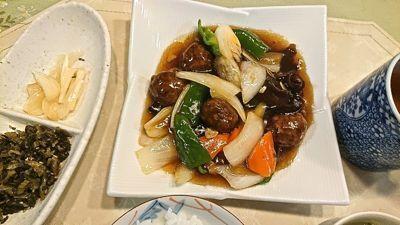 晩ご飯ー1酢豚