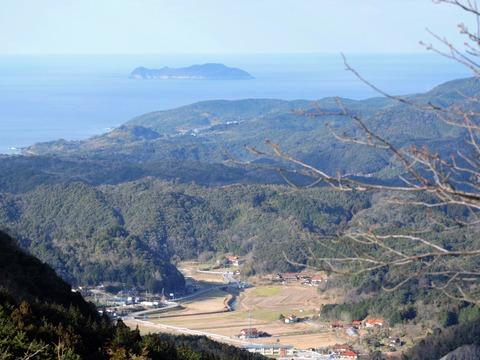 益田市の比礼振山(権現山)より高島と大草町の風景