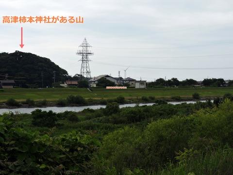 現在の高津柿本神社がある山と周辺(益田市高津)