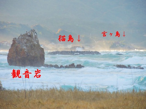 益田市の風景 観音岩、猫島、宮ヶ島 説明