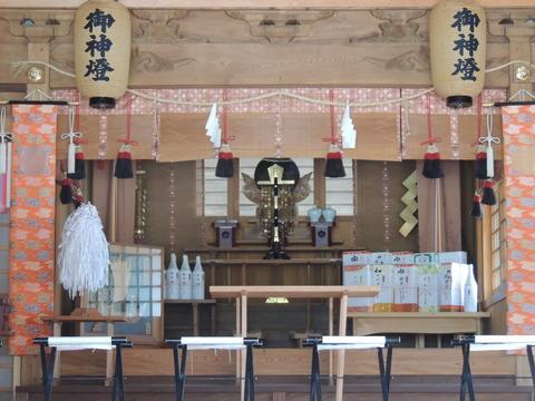 益田市 高津柿本神社 拝殿 神鏡 金幣