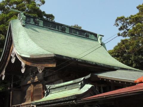 櫛代賀姫神社の本殿 屋根 銅板葺き