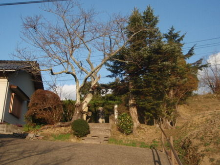 島根県 益田市の「寺坂吉右衛門のお墓」へ導くの坂道から