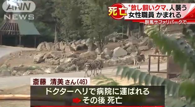 群馬サファリパーク人を喰うクマ出現! 従業員でレンジャーの齋藤清美さんがツキノワグマに襲われ死亡