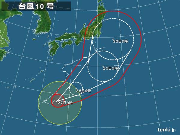 台風10号『ライオンロック』 過去最強クラスの勢力を保ち首都圏上陸か 現在の中心気圧950hPa