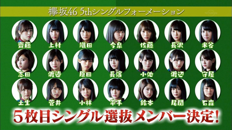 【欅坂46】5th選抜決定!センターは平手友梨奈 長濱ねる漢字専任も発表