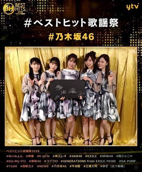 【乃木坂46】ベストヒット歌謡祭の集合写真、去年と2年前との比較・・・