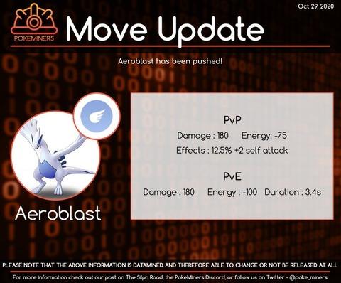 【ポケモンGO】ルギアの技「エアロブラスト」の性能が判明!威力180に125で攻撃2段階UPのぶっ壊れ!