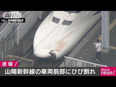 山陽新幹線のぞみ 先頭車両のボンネットが大きく破損 原因不明だけどなんか赤いしみ