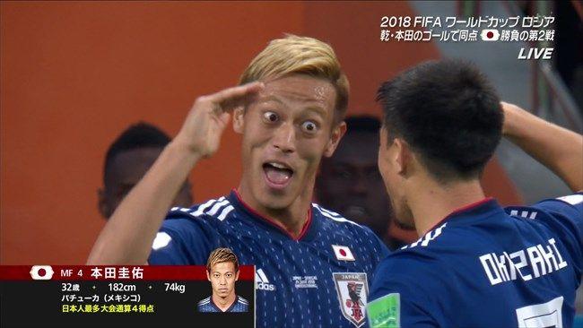 本田圭佑 W杯9試合4ゴール3アシスト