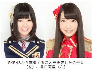 【悲報】SKE48金子栞と井口栞里が卒業を発表