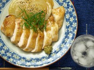 鶏胸肉と新たまねぎの柚子胡椒焼き