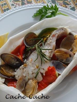 塩麹鱈とアサリの包み蒸しアクアパッツァ