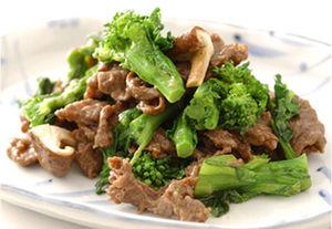 牛肉と菜の花のオイスターソース炒め