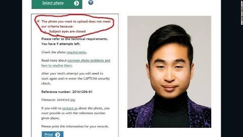 【画像】ネットで旅券申請するが「目が細すぎる」とシステムに拒絶された男性がこちら