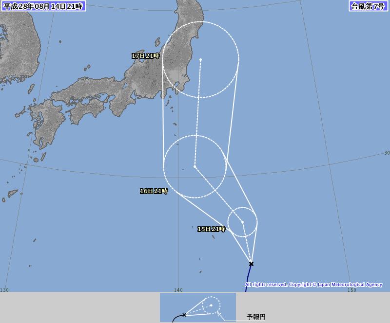 台風7号の進路がヤバい!日本のはるか南の海上で発生し関東直撃コース!