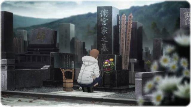 墓前での再会