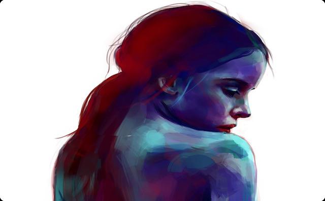 悲しい少女の背中