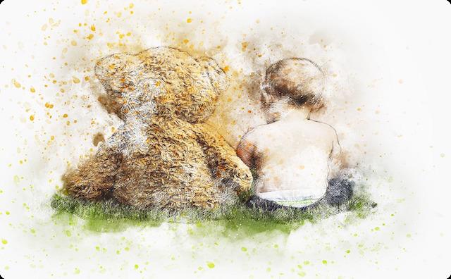 子供とクマ