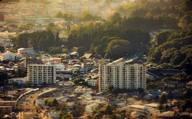 山間部の町