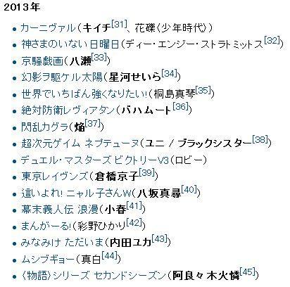喜多村英梨2013年テレビアニメ出演作品