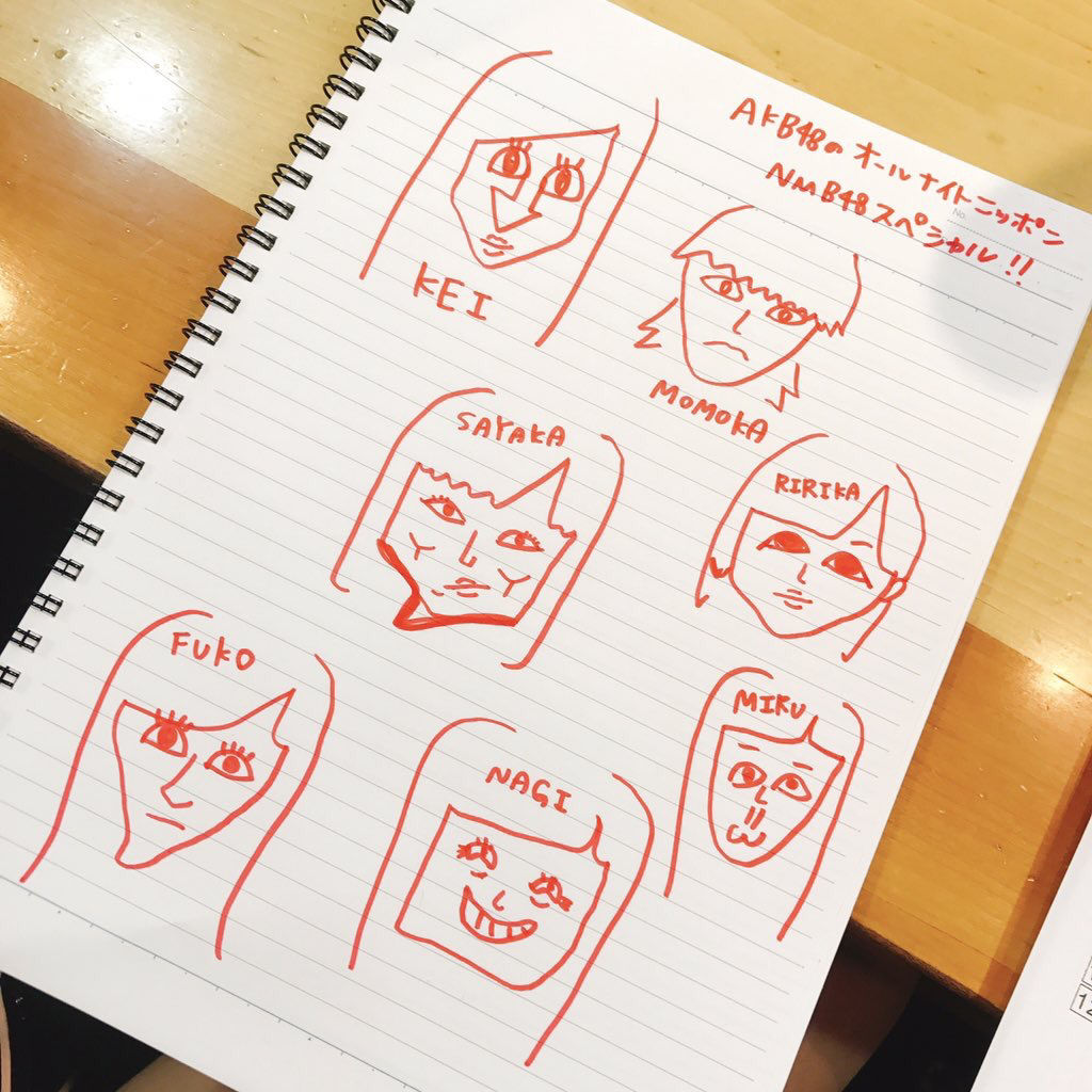 【AKB48のオールナイトニッポン】白間画伯の似顔絵wwwwwww【横山由依 岡田奈々 向井地美音 松井珠理奈 宮脇咲良 中井りか】